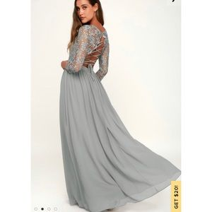 Touch My Heart Sage Grey Lace-Up Maxi Dress